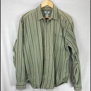 Horny toad green stripe button down